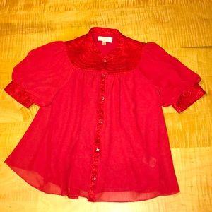Moulinette Soeurs Anthropologie red blouse sz 4